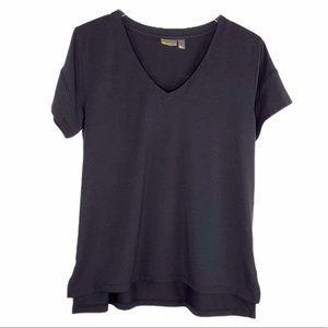 Zella V-Neck Hi-Low Hem Black Tee Shirt